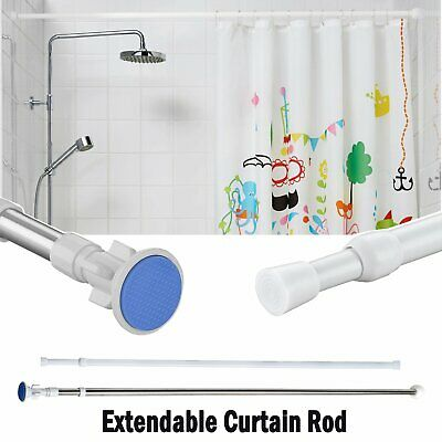 Extendable Telescopic Shower Curtain Rail Rod Pole Bath Wardrobe Window Curtain