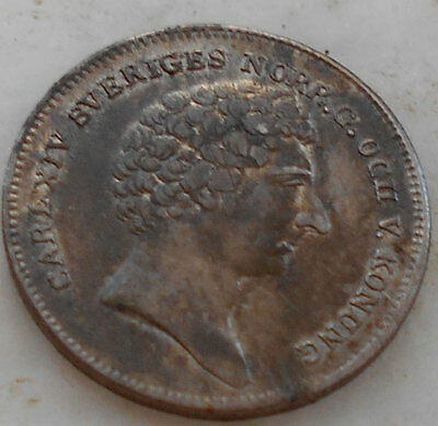 Sweden- silver- 1/8 Riksdaler- 1831 CB- XF, scarse in this contision