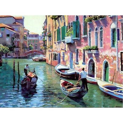 Canvas Paint By Number Kit Oil Painting DIY Water Venice No Frame Art Decoration