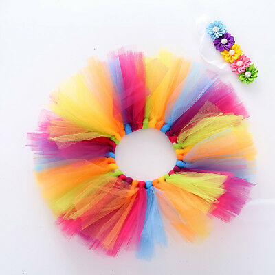 Colorful Infant Kids Boy Girls Rainbow Princess Party Dancewear Skirt Dresses