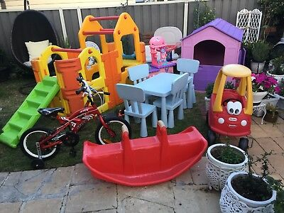 Cubby House+Double Play Gym+Ikea Table And 4 Chairs+Car+Kitchen+Seesow+Other