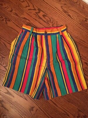 Vintage 80S 90S Colorful Striped Shorts From Back Bay Size Medium High Waist