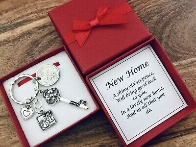 LUCKY SIXPENCE CHARM, new house, new home, moving, HOUSE WARMING, KEY, gift box