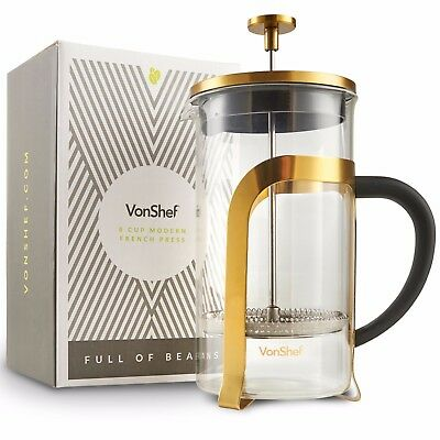 VonShef 1Liter Heat-resistant French Press Cafetiere Coffee Maker Glass 8 Cup