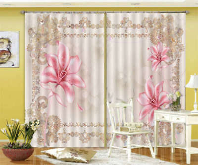 Pink Lily Lace 3D Curtain Blockout Photo Printing Curtains Drape Fabric Window