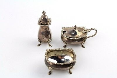 Collection of 3 x Piece BIRMINGHAM SILVER Condiment Set By Mappin&Webb - 118g