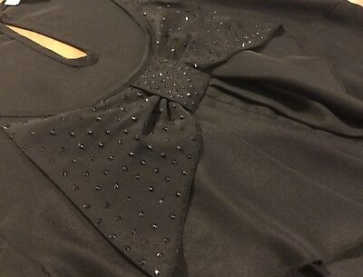 Black Top With sparkly bow great for Dancing - Size 8 - A Grade Condition