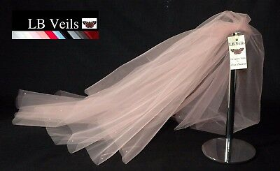 Blush Pink Veil 2 Tier Crystal Diamante All Over Any Length Wedding  LBV151