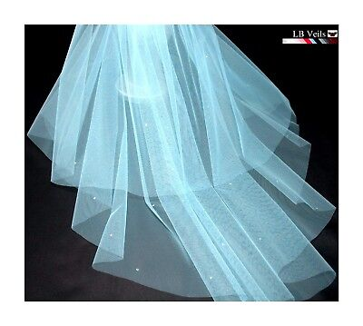 Sky Blue Veil 2 Tier Crystal Diamante All Over Any Length Wedding Bridal LBV151