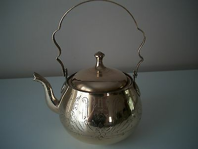 Vintage Antique Brass Decorative Kettle, with Engraved Leaf Pattern