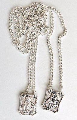 Silver Plated, Italian Scapular of Our Lady of Mount Carmel