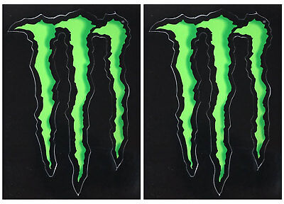 2 x MONSTER ENERGY GREEN CLAW VINYL STICKERS (Approx 4.5') F1 MOTOGP