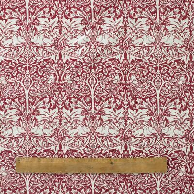 William Morris Red Brother Rabbit 100% Cotton Floral Fabric By The Half Metre