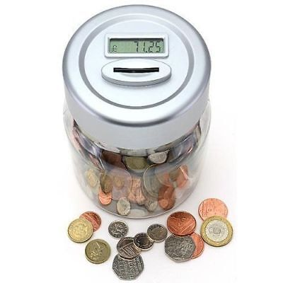 Silver Digital Coin Counter Lcd Display  Jar Money Box Counts Coins