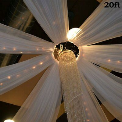White 1 20 x 10 ft Professional Sheer CEILING CURTAIN Drapes Party Decorations