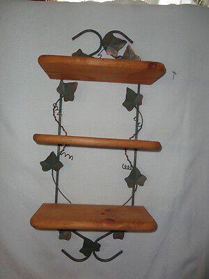 Home Interiors ''Wood & Ivy 3- Tire Wall Shelf   Gorgeous