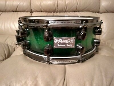 Mapex Saturn Snare Drum Green Sparkle w/ Black Nickel Hardware like NEW