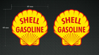 2 x Retro SHELL decals 60mm - Quality printed and laminated stickers