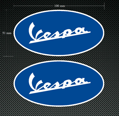 2 x VESPA Stickers/Decals - Blue 100mm Printed & Laminated - SCOOTER - MOPED