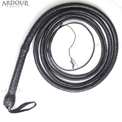 Black Kangaroo Hide BULL WHIP 16 Feet, 12 Plaits CUSTOM BULLWHIP Belly Bolster