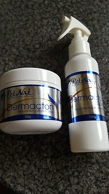 Skin Relief for dogs advanced natural cream & spray Dermacton with instructions