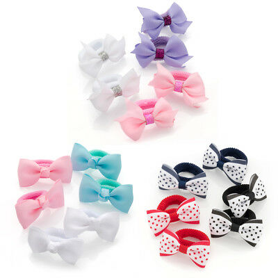 6 Piece Grosgrain Ribbon Bow Hair Ponio Set Hair Elastics Girls Women 5cm