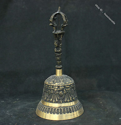 "7"" Collect Tibetan Temple Fane Bronze Statue Buddha Bell Five Disaster Sculpture"