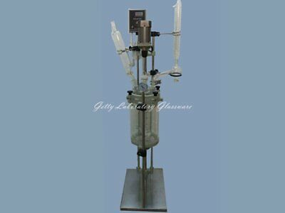 2L Motor-driven Jacket Chemical Reactor double-neck Glass Reactor Vessel