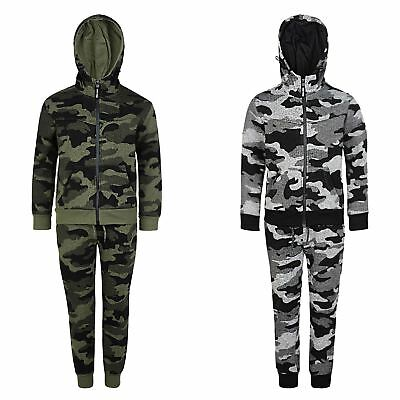 Kids Pixel Camo Print Tracksuit Fleece Hooded Top Jogging Bottoms Sizes 3-14 Y