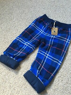 Joules 6-9 Months Pyjama Bottoms Blue Tartan Brushed Cotton NEW