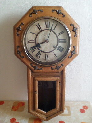 Antique or Vintage Schoolhouse Wall Clock; trademark TO in diamond