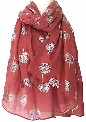 Mulberry Trees Style Scarf Red Dark Pink Silver Tree Ladies Wrap Foil Shawl New