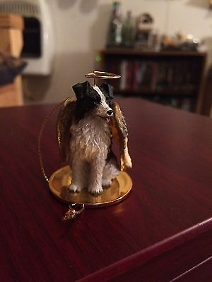 Border Collie Dog Figurine Ornament Angel Statue Hand Painted