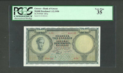 Greece 50.000 Drachmai 1950 Pcgs35