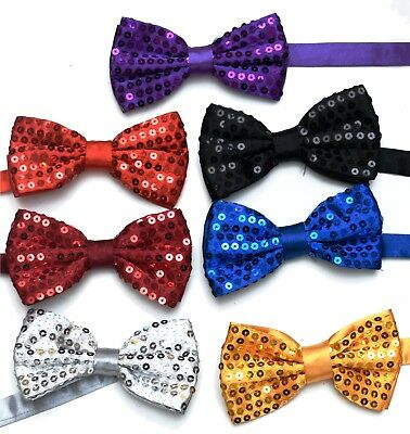 Sequin Satin Shiny Bow Tie Dickie Show Sparkly Fancy Dress Magic Mens Boys