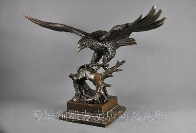 """12"""" China bronze marble carved finely king of birds eagle Sculpture Statue"""