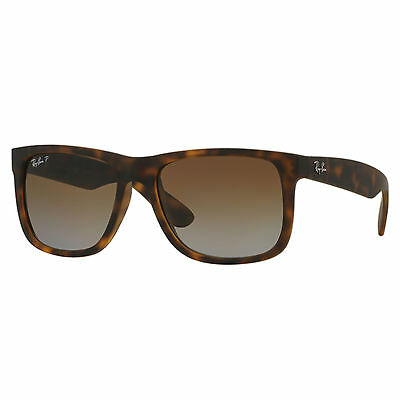 Ray-Ban Justin Men's 0RB4165 Polarized Square Sunglasses, Havana Rubber, 55 mm