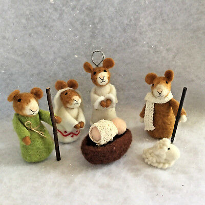 Mouse Nativity Set Scene Wool Felt Mice Christmas Decoration 6 Piece Childrens