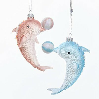 "Kurt Adler Noble Gems Glass Dolphin With Beach Ball Ornament 4.25"" - 2 A..."