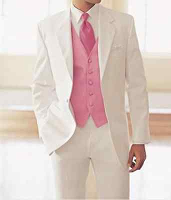 Ivory Men's Wedding Tuxedos With Pink Waiscoat Custom Groom Best man Party Suits
