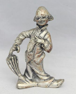 "Vintage Pewter Clown Figurine With Umbrella - Stamped ""Peltro Italy"""