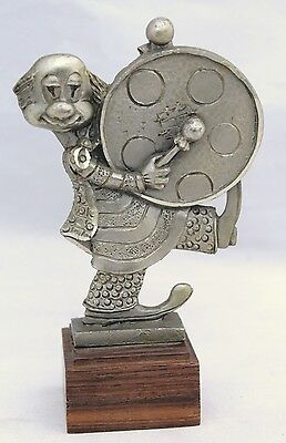 Vintage Pewter Clown Figurine With Drum