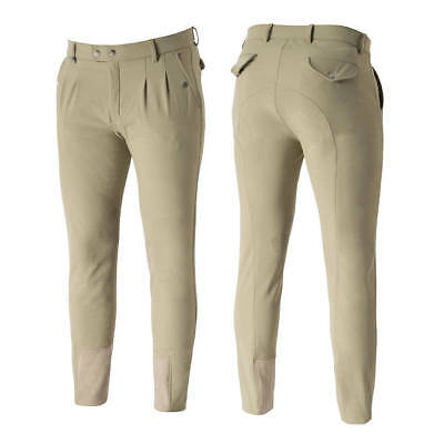 Horze Grand Prix Men's Silicone Knee Patch Breeches Sizes 30-38 Tan White Black