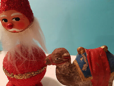 Vintage German Santa Candy Container $ Camel for Putz