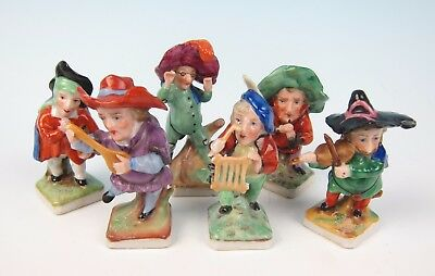 Antique Porcelain Musician Figurines Group Dwarf Hunchback German Gnome Figures