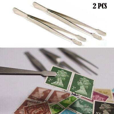 Durable Stamp Tweeezers 2pcs 11.4cm Long For Beads Jewellery