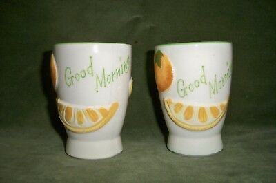 Pair Vintage Ceramic GOOD MORNING Juice Glasses Napcoware c5352