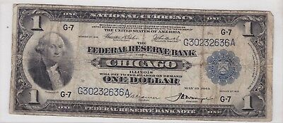 1918 $1 National Currency Federal Reserve Bank Chicago One Dollar Bank Note