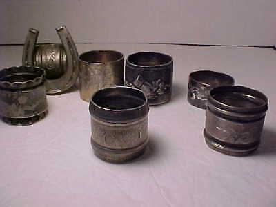 Lot of 7 Antique Victorian Silver Plate Napkin Rings