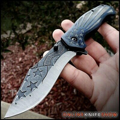 SILVER KARAMBIT SPRING ASSISTED POCKET KNIFE Tactical Open Dual Folding Blade